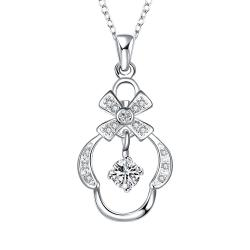 Vienna Jewelry Petite Crystal Stone Crown's Pendant Drop Necklace - Thumbnail 0
