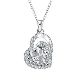 Vienna Jewelry Crystal Heart Shaped Jewels Covering Drop Necklace - Thumbnail 0