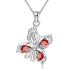 Vienna Jewelry Trio Ruby Red Butterfly Pendant Necklace - Thumbnail 0