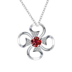 Vienna Jewelry Petite Ruby Red Hollow Clover Drop Necklace - Thumbnail 0