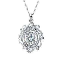 Vienna Jewelry Blossoming Spiral Crystal Stone Drop Necklace - Thumbnail 0