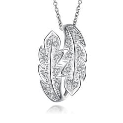 Vienna Jewelry Mock Crystal Jewels Duo-Leaf Drop Necklace - Thumbnail 0