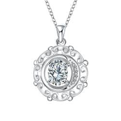 Vienna Jewelry Crystal Stone Spiral Pendant Drop Necklace - Thumbnail 0