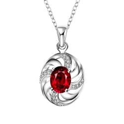 Vienna Jewelry Ruby Red Spiral Jewels Lining Drop Necklace - Thumbnail 0