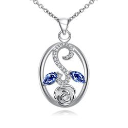Vienna Jewelry Sapphire Leaf Spiral Jewels Pendant Drop Necklace - Thumbnail 0