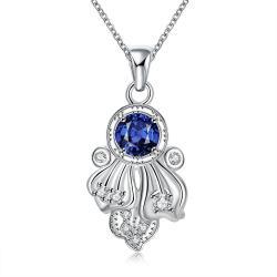 Vienna Jewelry Mock Sapphire Spiral Laser Cut Emblem Drop Necklace - Thumbnail 0