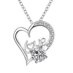 Vienna Jewelry Heart & Love Crystal Stone Drop Necklace - Thumbnail 0