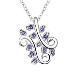 Vienna Jewelry Mock Saphire Curved Floral Orchid Drop Necklace - Thumbnail 0