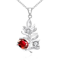 Vienna Jewelry Ruby Red Drop Orchid Modern Necklace - Thumbnail 0