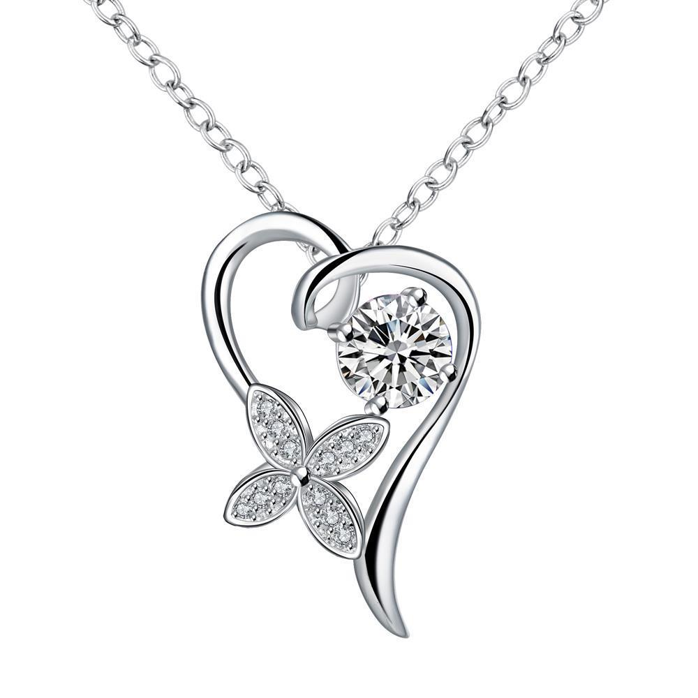 Vienna Jewelry Crystal Stone Hollow Heart Drop Necklace