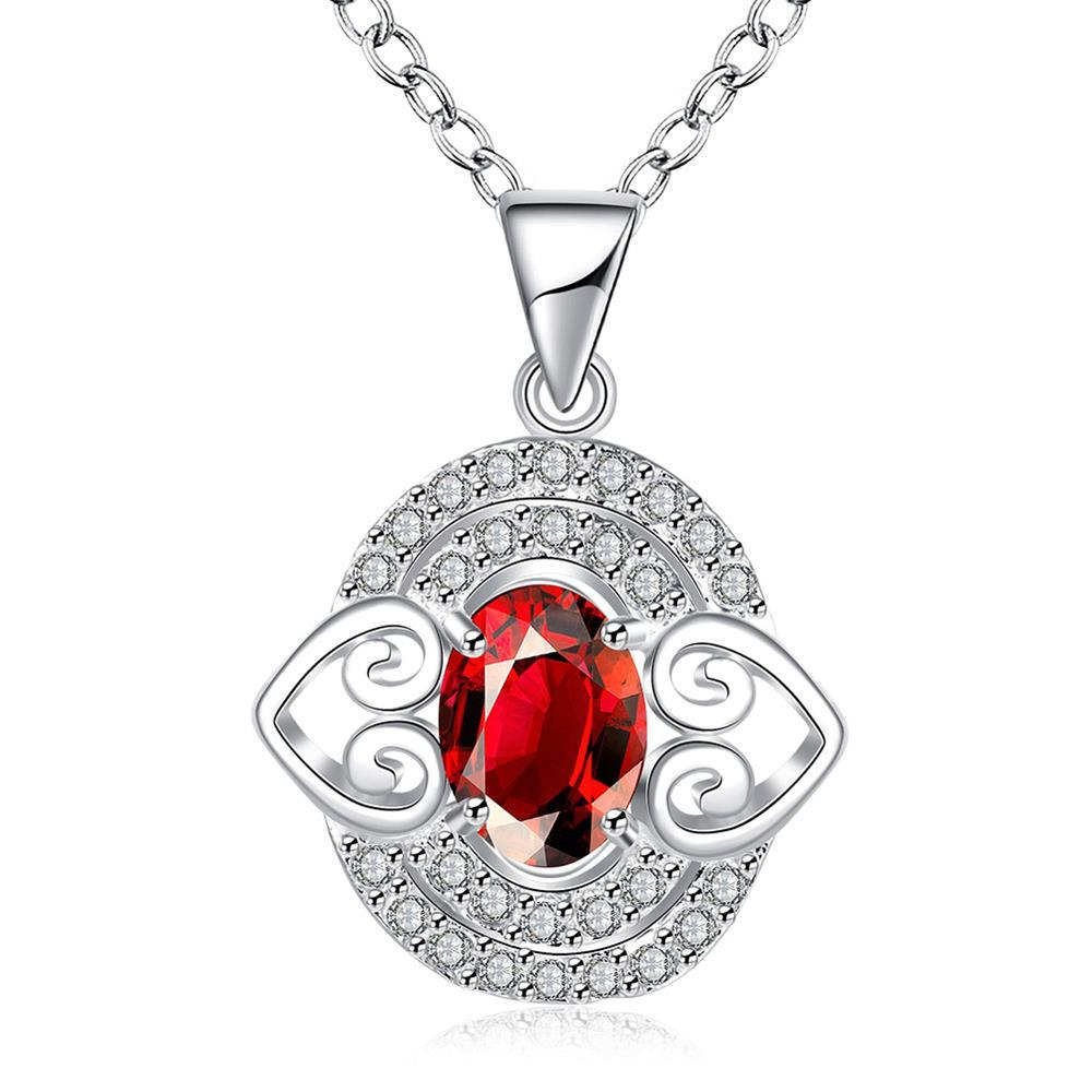 Vienna Jewelry Petite Ruby Red Gem Circular Drop Necklace