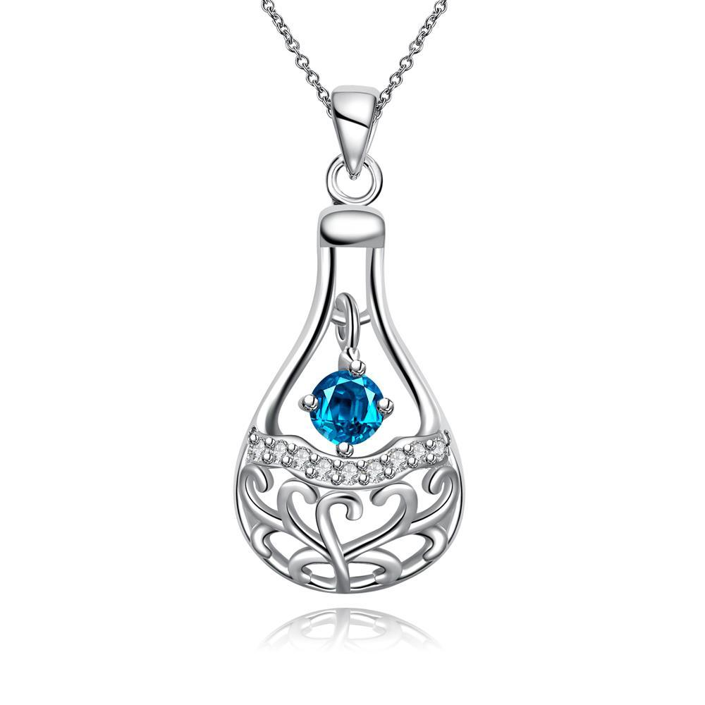 Vienna Jewelry Petite Light Mock Sapphire Dangling Pendant Drop Necklace