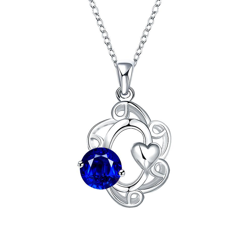 Vienna Jewelry Mock Sapphire Gem Spiral Pendant Drop Necklace