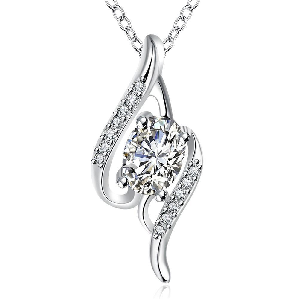 Vienna Jewelry Crystal Stone Gemstone Spiral Drop Necklace