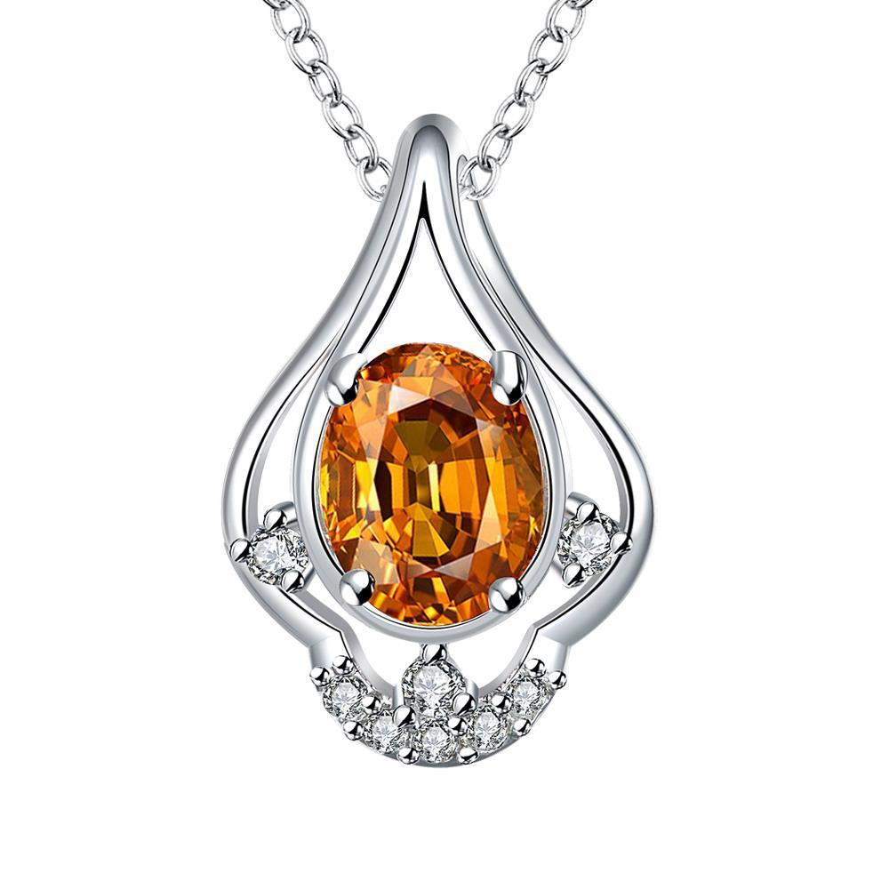 Vienna Jewelry Petite Orange Citrine Triangular Curved Drop Necklace