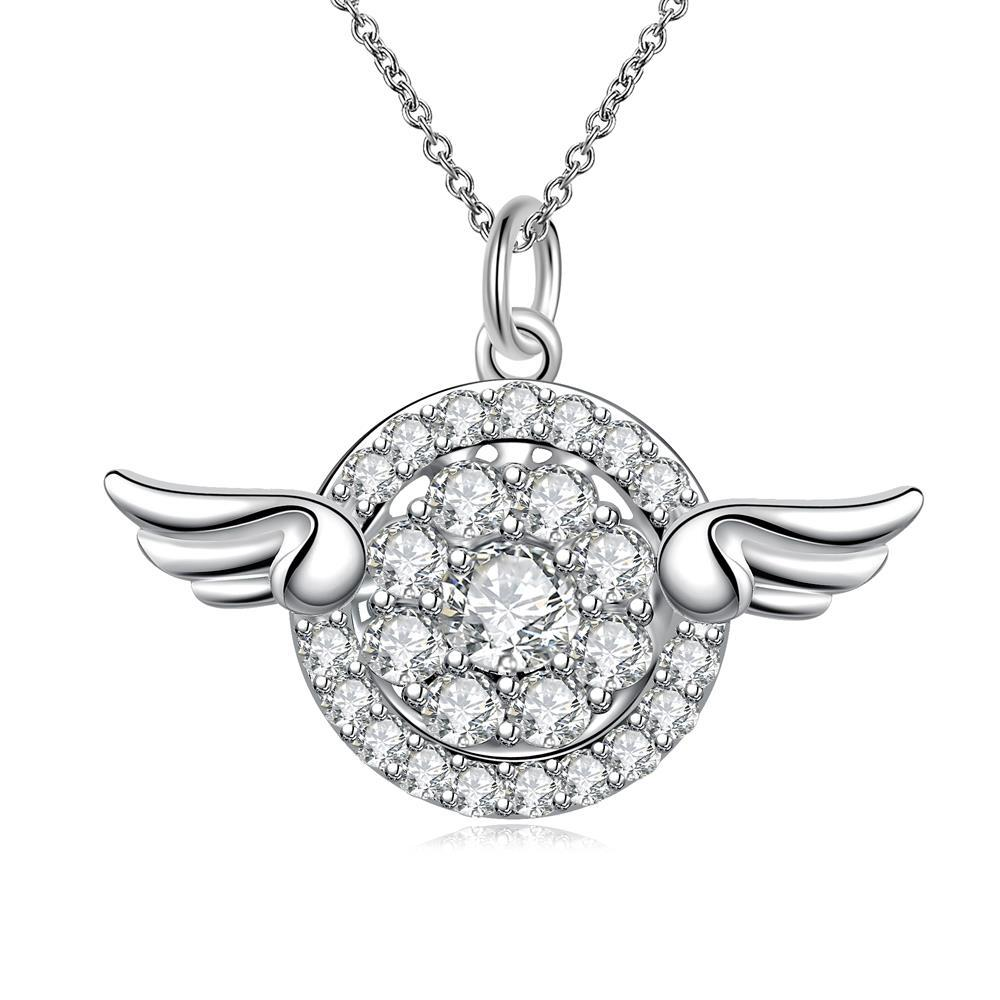 Vienna Jewelry Wings Emblem Pendant Drop Necklace