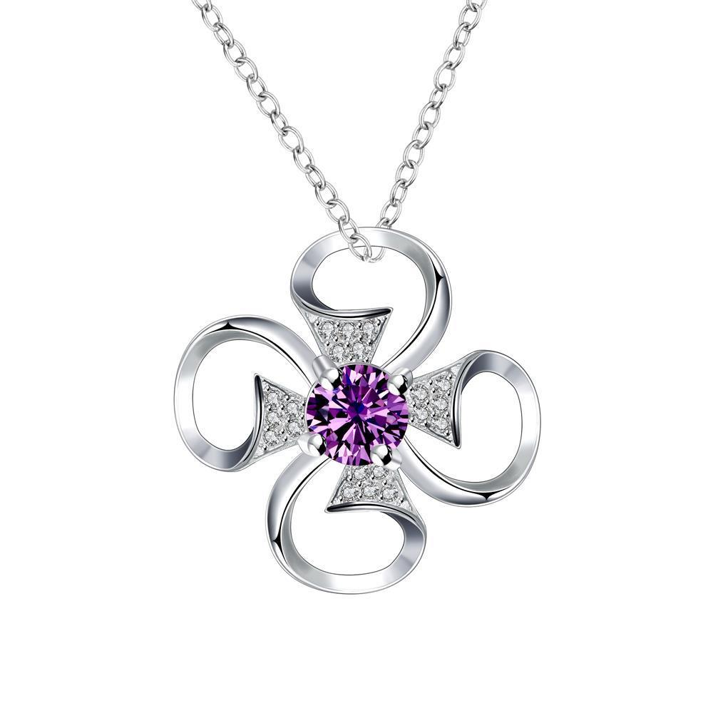 Vienna Jewelry Petite Purple Citrine Hollow Clover Drop Necklace
