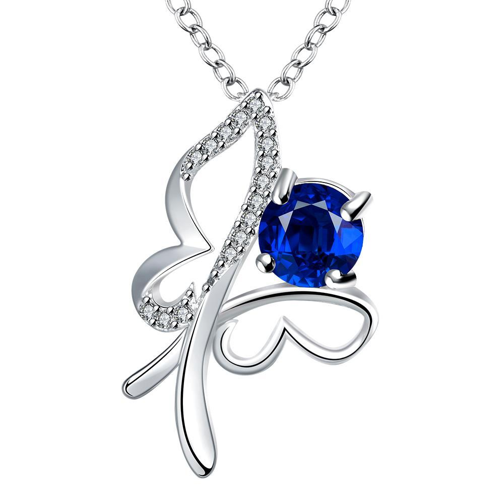 Vienna Jewelry Petite Mock Sapphire Hollow Flying Butterfly Drop Necklace