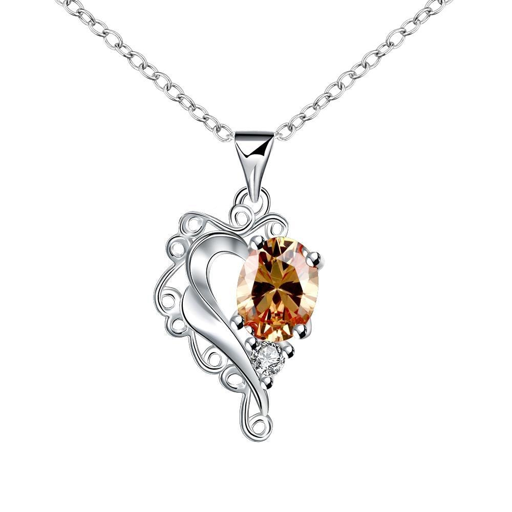 Vienna Jewelry Blossoming Orange Citrine Heart Shaped Drop Necklace