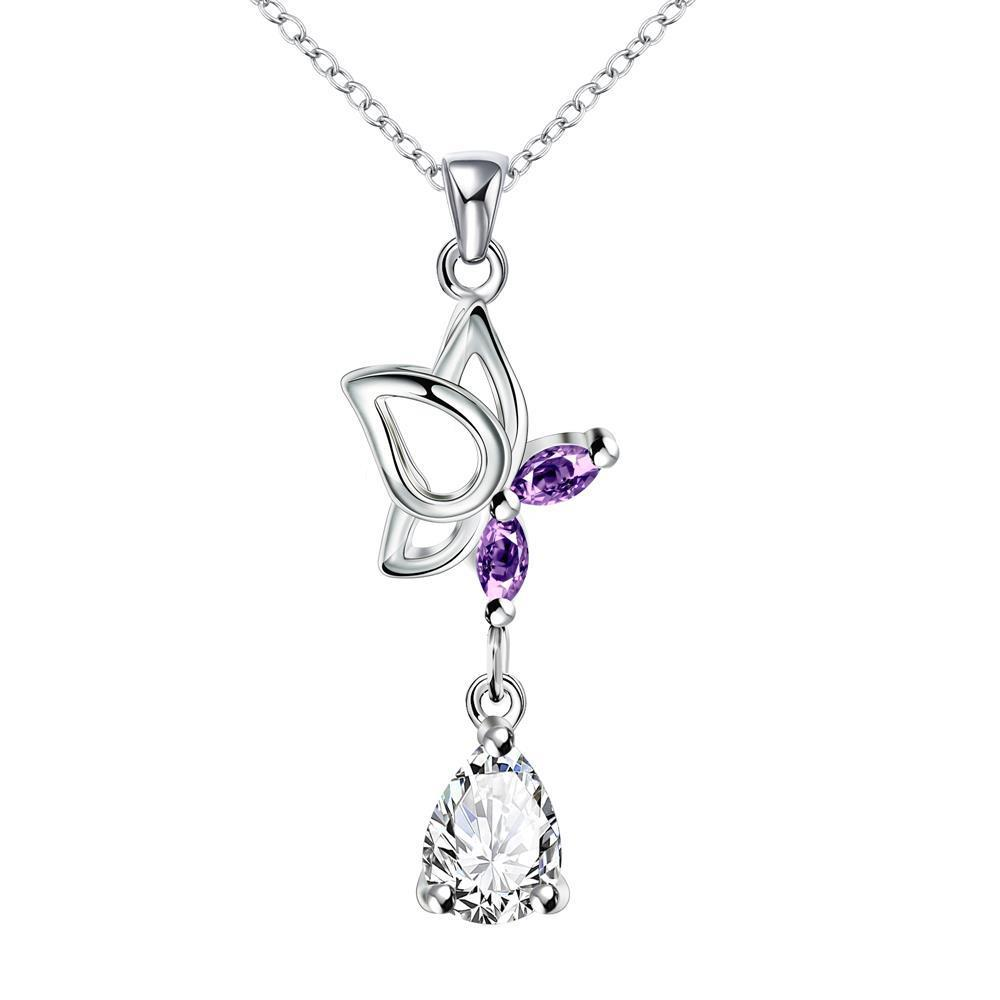 Vienna Jewelry Purple Citrine Dangling Butterfly Drop Necklace