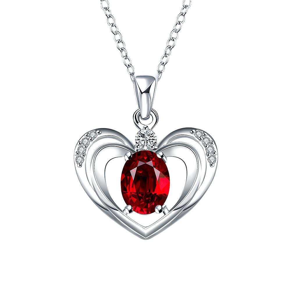 Vienna Jewelry Petite Ruby Red Hollow Hearts Necklace