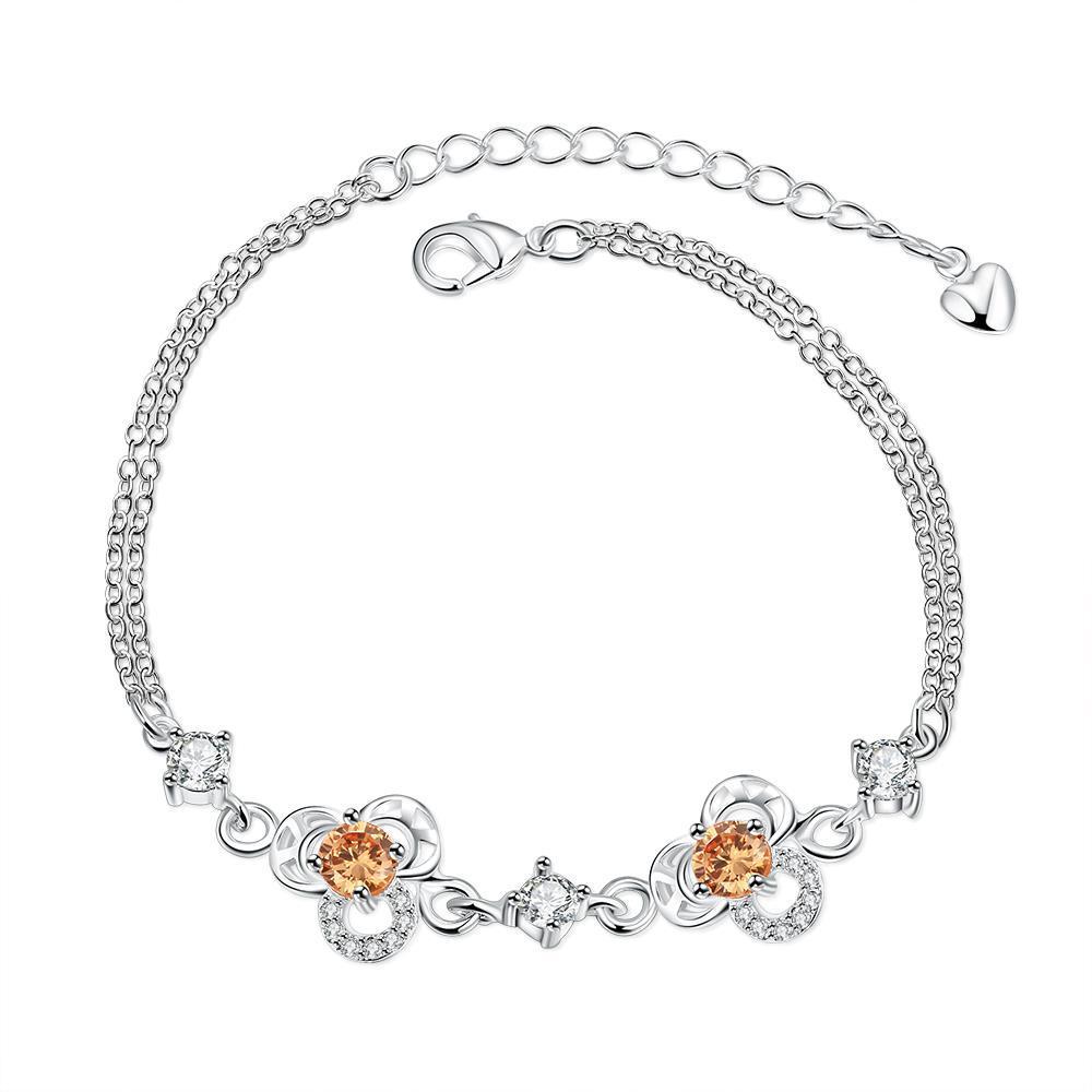 Vienna Jewelry Orange Citrine Hollow Floral Emblem Petite Anklet