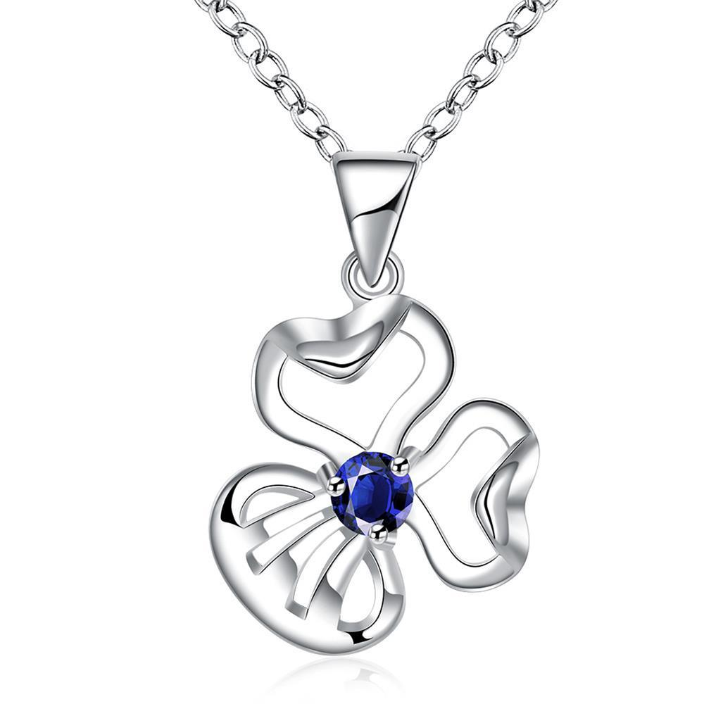 Vienna Jewelry Mock Sapphire Curved Clover Drop Necklace