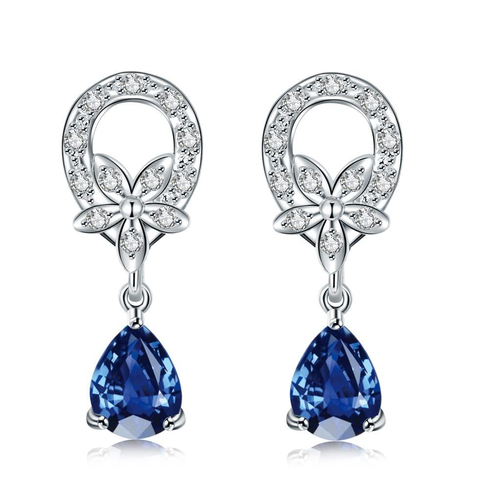 Vienna Jewelry Mock Sapphire Spiral Emblem Drop Earrings