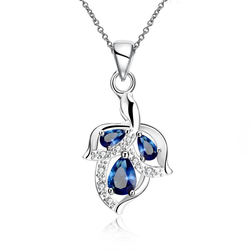 Vienna Jewelry Trio Mock Sapphire Dangling Orchid Drop Necklace