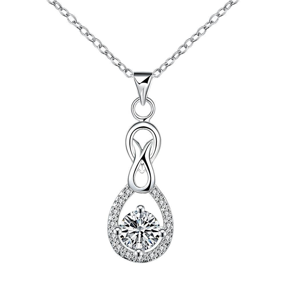 Vienna Jewelry Crystal Stone Pendant Curved Drop Necklace