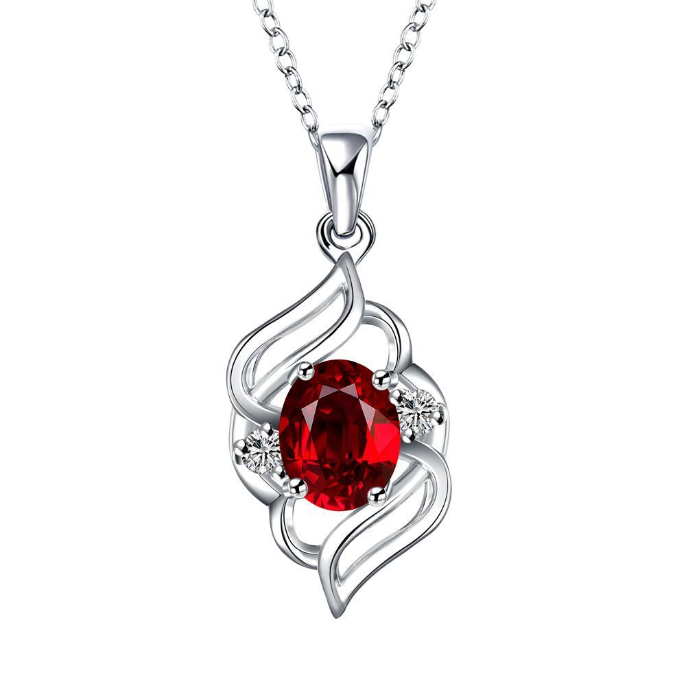 Vienna Jewelry Curved Abstract Petite Ruby Pendant Necklace