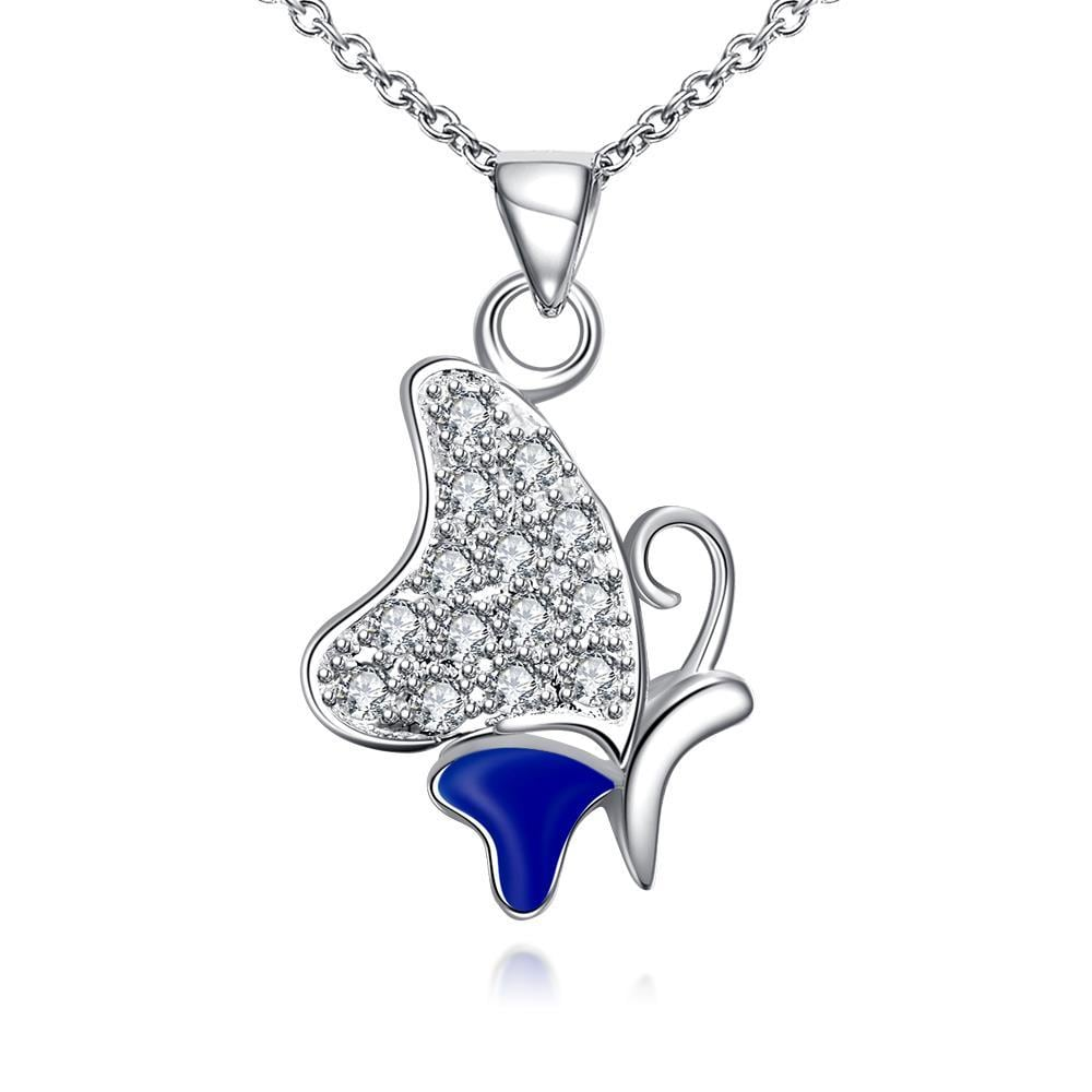 Vienna Jewelry Sapphire Plated Jewels Covering Butterfly Necklace