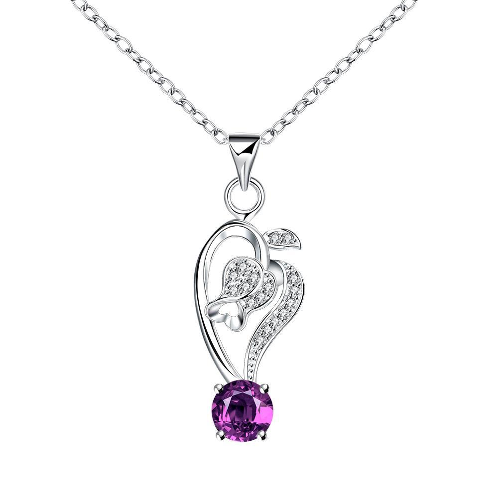 Vienna Jewelry Curved Abstract Heart Dangling Purple Citrine Drop Necklace