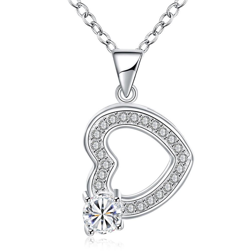 Vienna Jewelry Hollow Heart & Stone Drop Necklace
