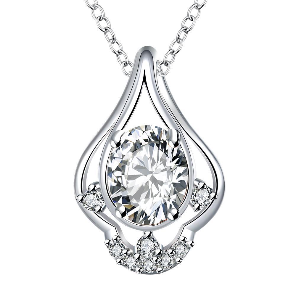 Vienna Jewelry Petite Crystal Stone Triangular Curved Drop Necklace