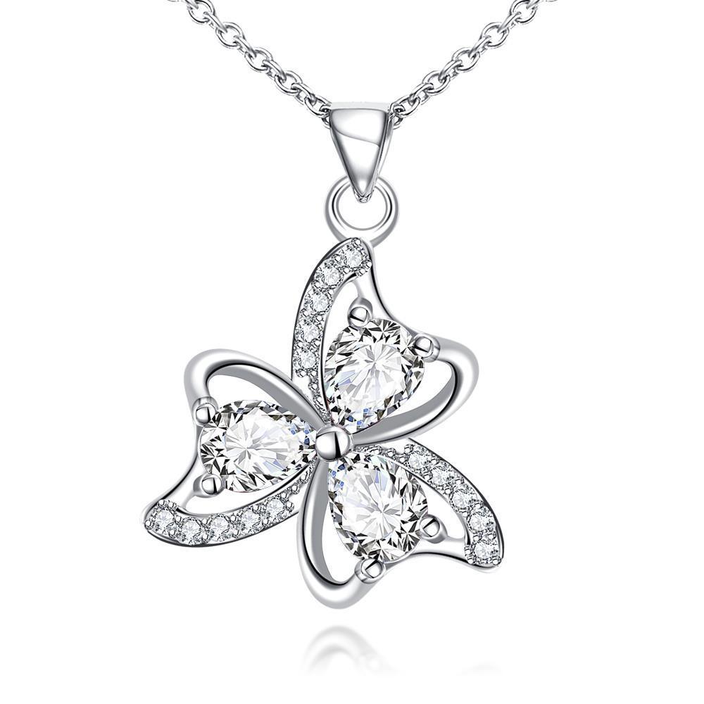 Vienna Jewelry Trio-Clover Petal Mock Crystal Stone Drop Necklace
