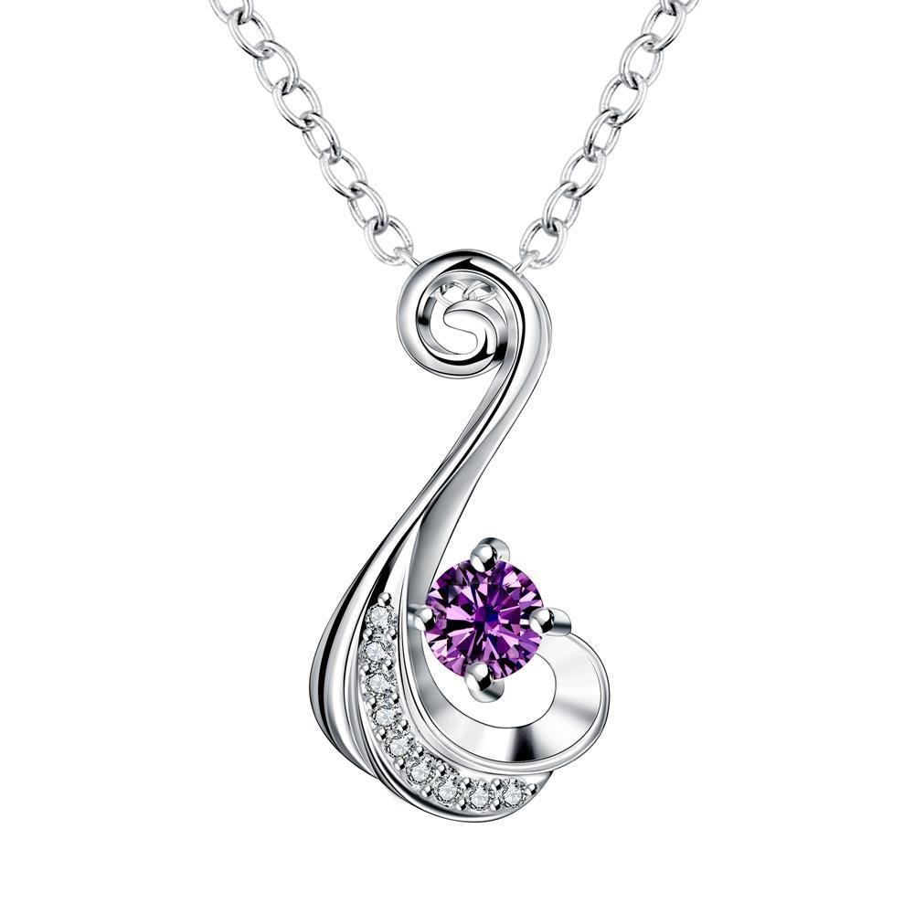 Vienna Jewelry Purple Citrine Spiral Drop Necklace - Thumbnail 0