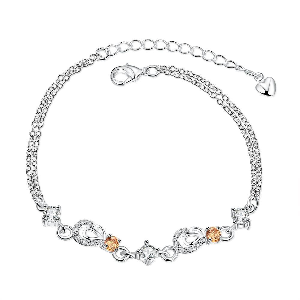 Vienna Jewelry Orange Citrine Hollow Hearts Petite Anklet