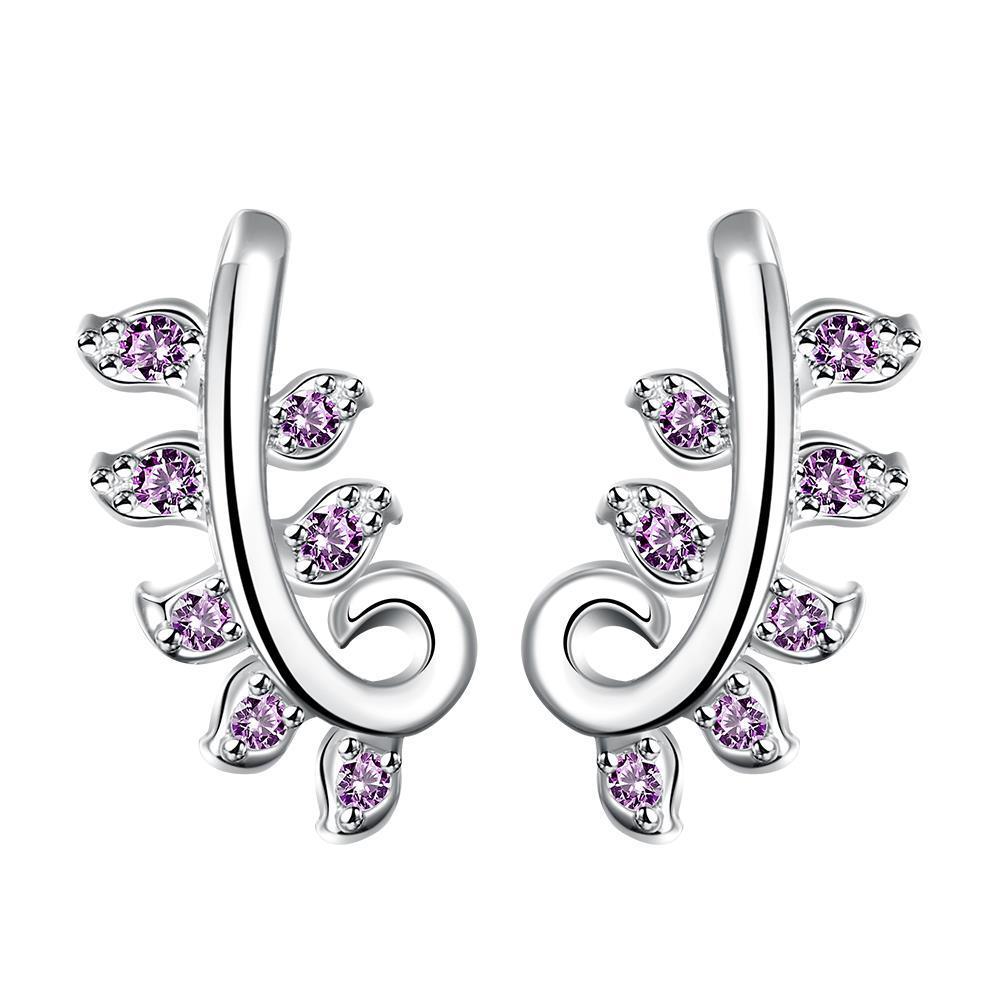 Vienna Jewelry Purple Citrine Swirl Tree Branch Dangling Earrings