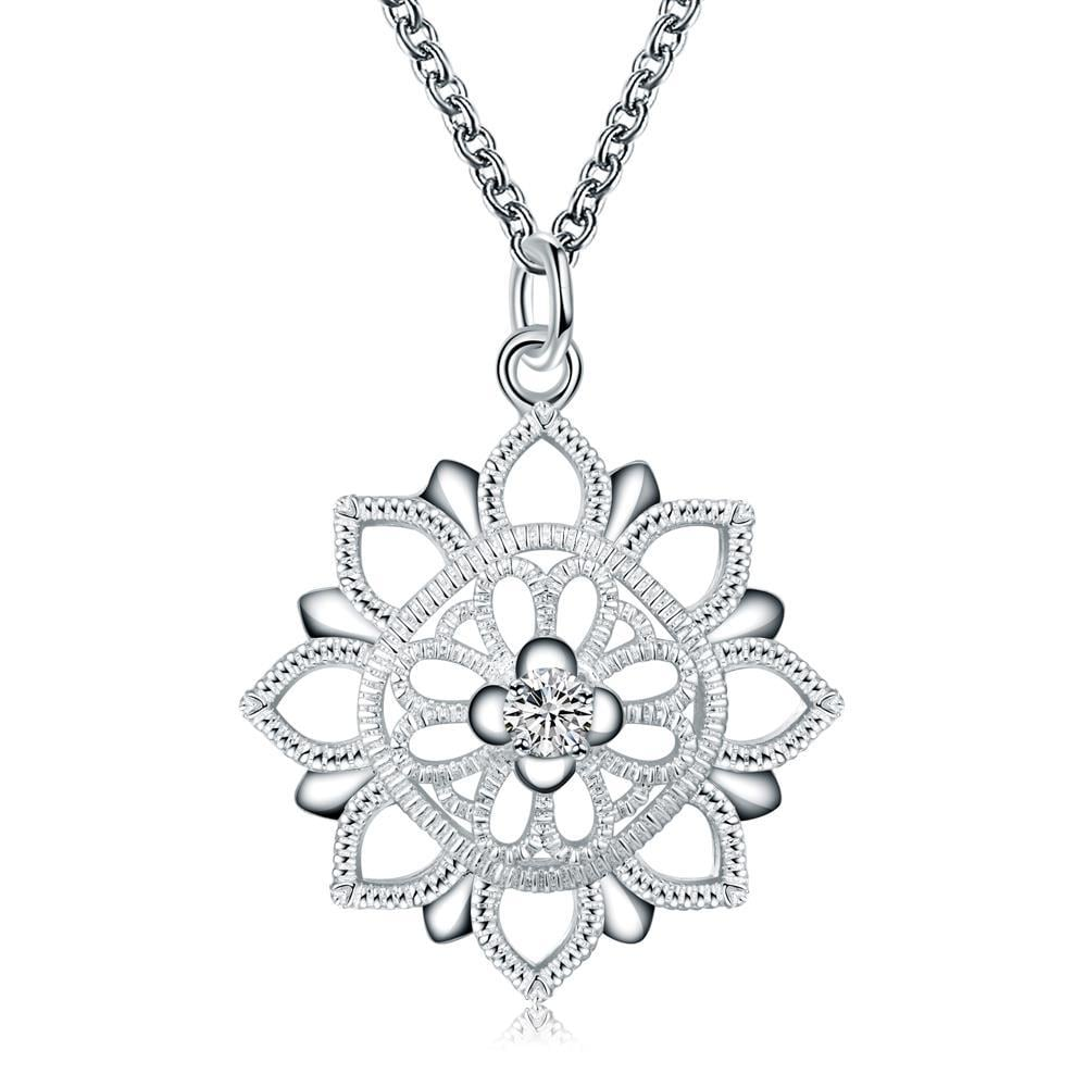 Vienna Jewelry Floral Snowflake Pendant Drop Necklace