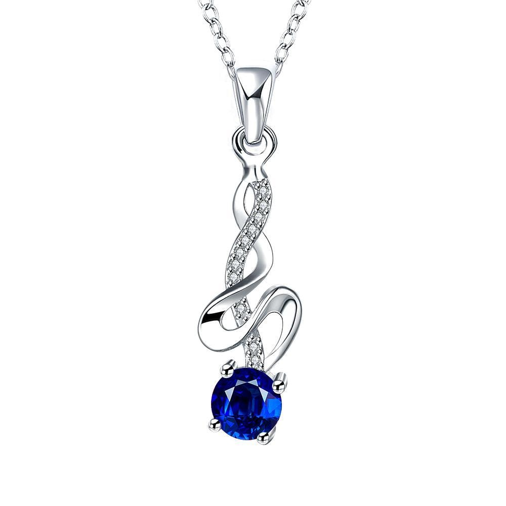 Vienna Jewelry Spiral Dangling Lining Petite Sapphie Dangling Necklace