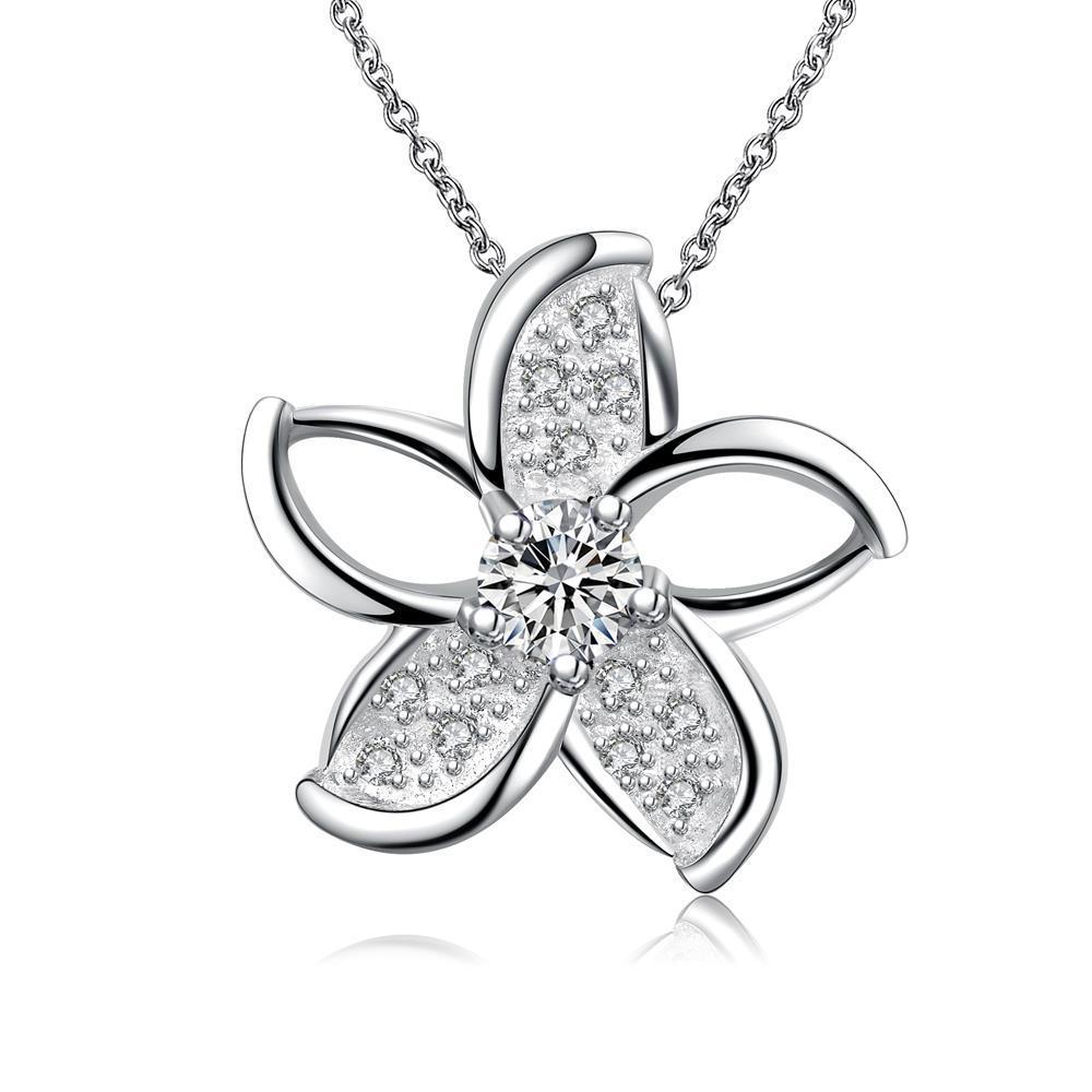 Vienna Jewelry Mock Crystal Stone Spiral Floral Emblem Necklace