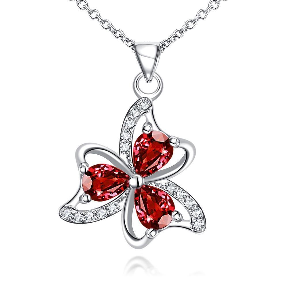 Vienna Jewelry Trio-Clover Petal Mock Ruby Red Drop Necklace