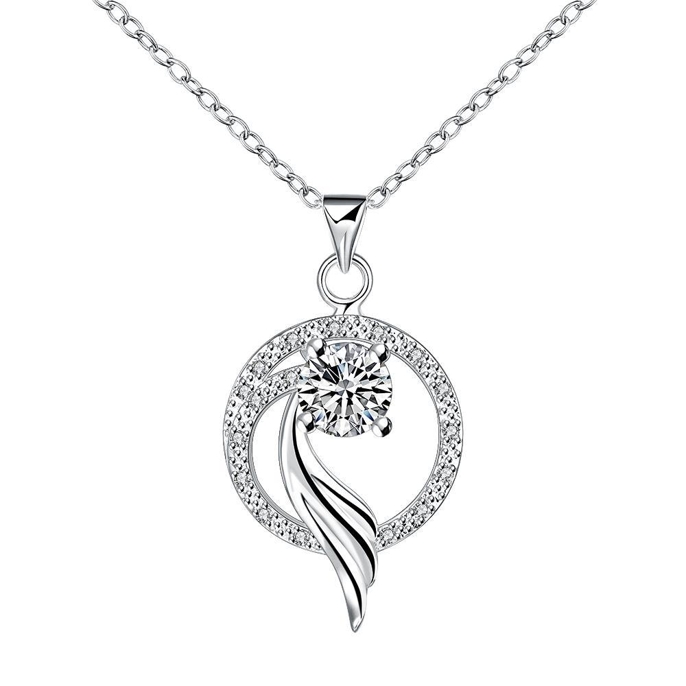 Vienna Jewelry Curved Spiral Circular Pendant Necklace