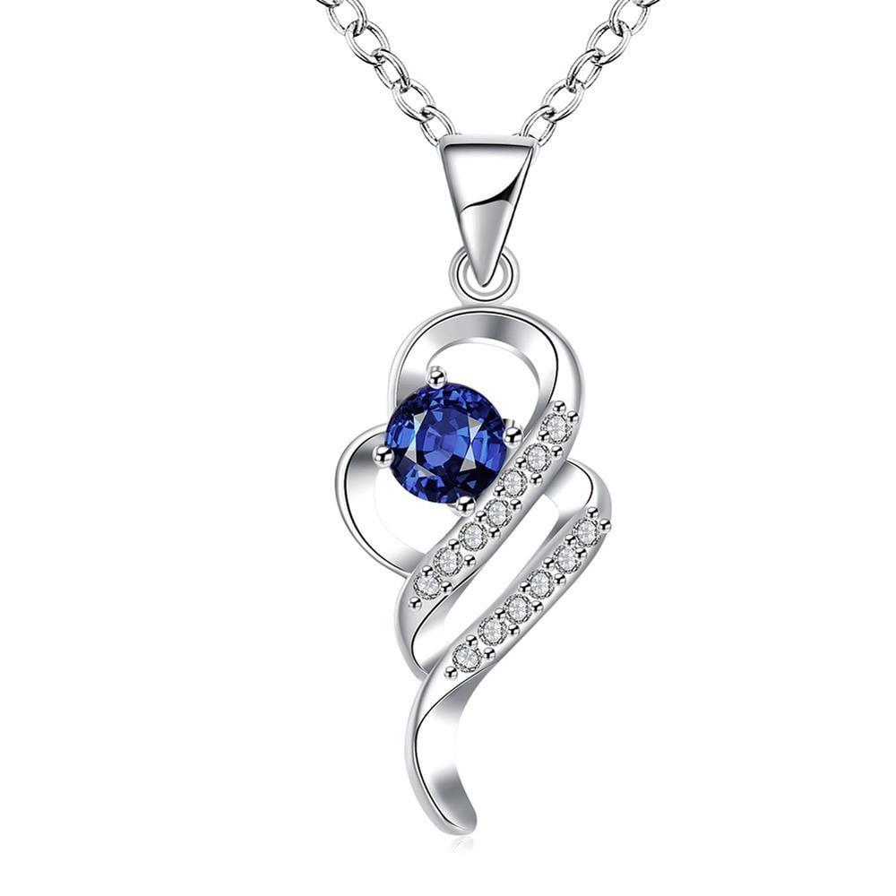 Vienna Jewelry Mock Sapphire Spiral Emblem Drop Necklace