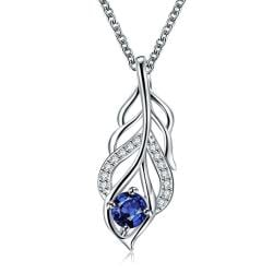 Vienna Jewelry Mock Sapphire Dangling Leaf Branch Necklace - Thumbnail 0