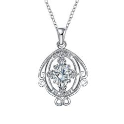 Vienna Jewelry Crystal Jewels Blossoming Spiral Jewels Drop Necklace - Thumbnail 0