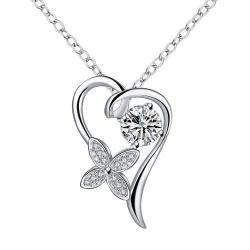 Vienna Jewelry Crystal Stone Hollow Heart Drop Necklace - Thumbnail 0