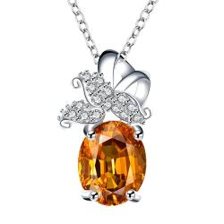 Vienna Jewelry Orange Citrine Dangling Butterfly Drop Necklace - Thumbnail 0