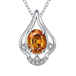Vienna Jewelry Petite Orange Citrine Triangular Curved Drop Necklace - Thumbnail 0